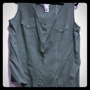 Army green loose fitting top